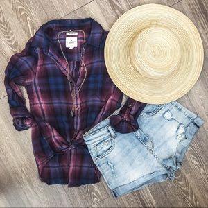 AEO Purple + Blue Summer Button Up - S